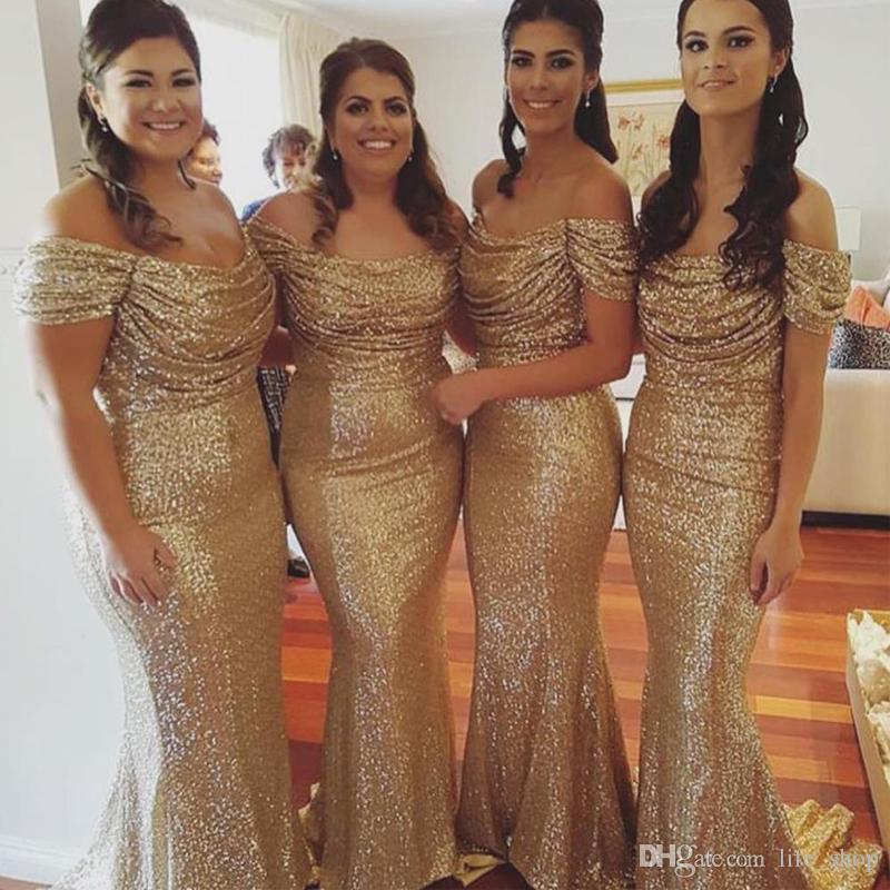 2017 Sexy oro paillettes abiti da damigella d'onore fuori spalla pieghettata temaid sirena onore di abiti da cameriera su misura