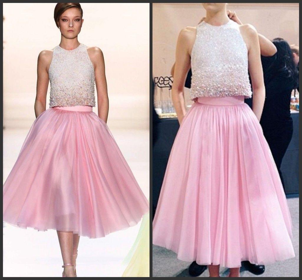 Lunghezza Due Dress pezzi moderni Hot Pink Tea Prom Dresses con telaietto Fashion Style Abiti da sera convenzionali dell'abito dei vestiti da partito poco costoso
