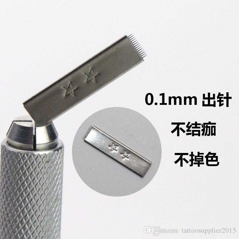 100 teile / los 14pin 2 sterne klinge make-up dauerhafte manuelle augenbraue klinge tatting nadeln Für 3D Handmade Stickerei Microblading