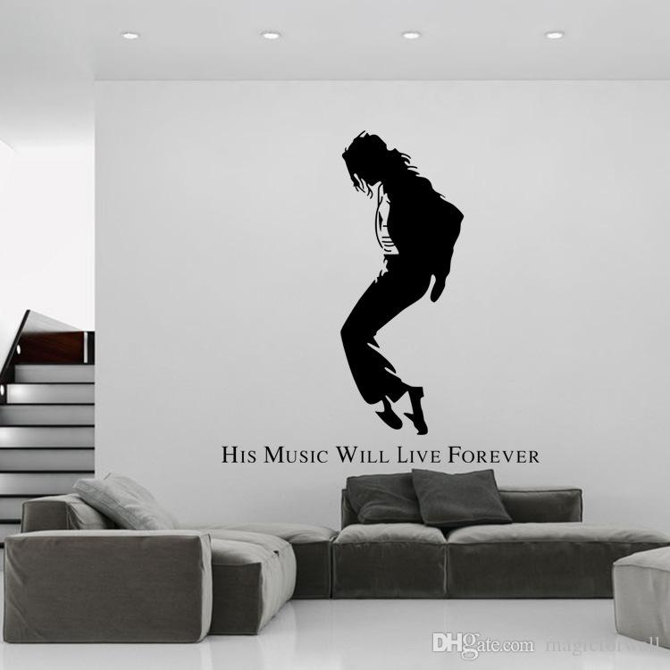 Black Wall Decals michael jackson black portrait wall stickers mj silhouette wall