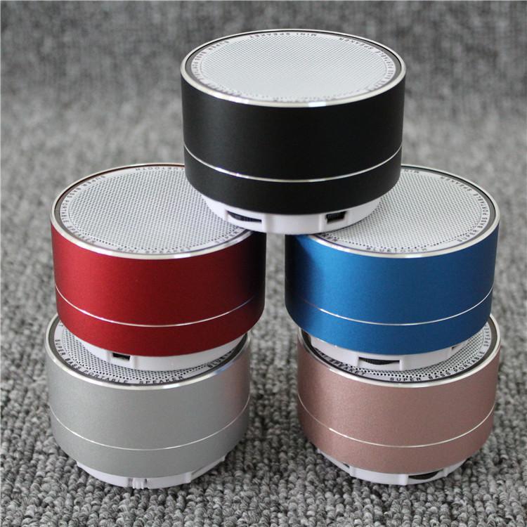 Mini haut-parleur sans fil Bluetooth moderne en alliage d'aluminium haut-parleurs de cylindre subwoofers carte TF radio FM LED Portable BT haut-parleur A10