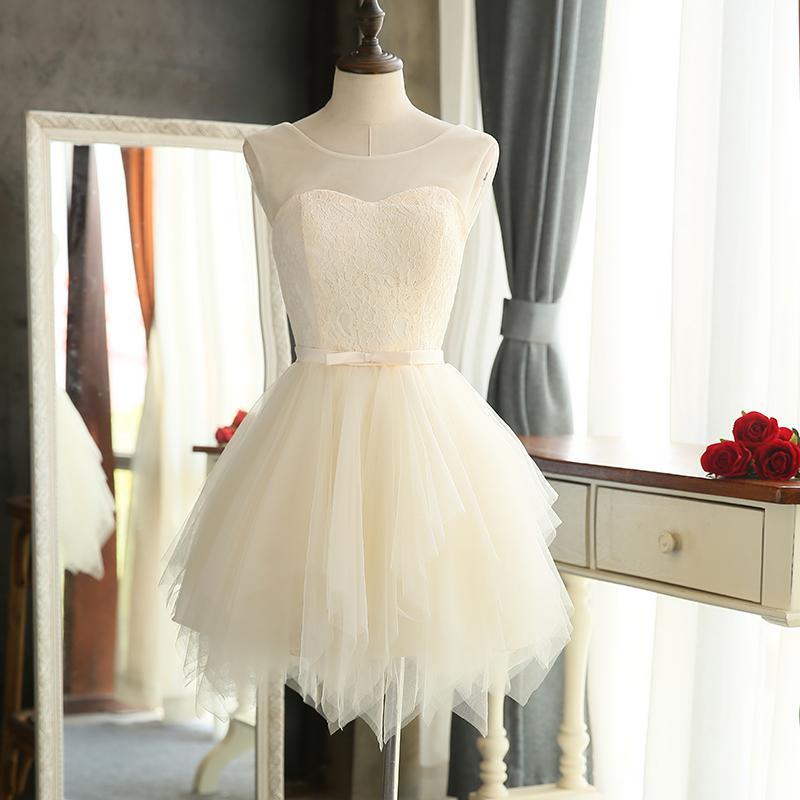 Encolure dégagée dentelle tulle robe de demoiselle d'honneur courte champagne 2019 longueur au genou robe de soirée élégante expédition rapide