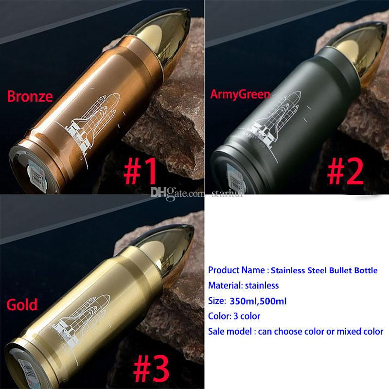 Nuevo Termo Botella de Acero Inoxidable Taza de la Bala Creativo Ojiva de Aislamiento Viaje Copa de Vacío Tapas de Aislamiento de Oficina 350 ML 500 ML WX-C06