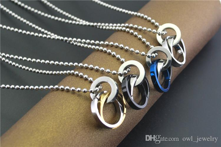 sale 2 Ring double circle contracted Men Fashion Pendant Necklace Titanium steel long sweater chain Ornament Jewelry Freeship