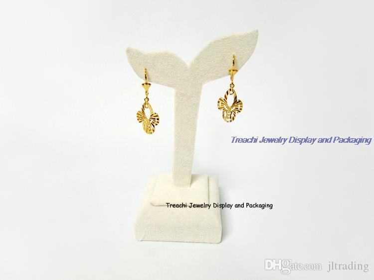 High-end Jewelry Display Stand Set Beige Suede Earrings Pendant Necklace Holder Showcase Exhibitor with Mannequin Bust