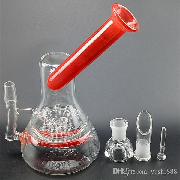 New 21cm glass bong glass water pipe smoking Pipe with Sprinkler Perc inline Recycler smoking accessories 14.5mm joint GB458