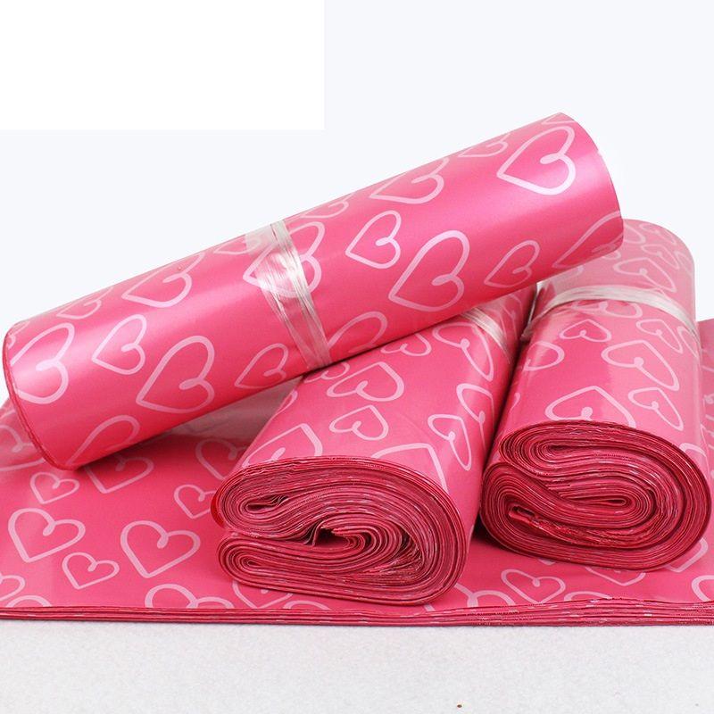 28 * 42CM نمط القلب الوردي البلاستيك البريد أكياس بولي ميلر الذاتي ختم ميلر التغليف مغلف البريد السريع حقيبة LZ0736