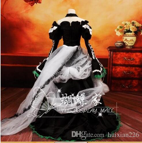 Vocaloid Cosplay und DATE A LAnime Vocaloid Cosplay Weiß Schwarzes Kleid Loro Rita Dienstmädchen Outfit Halloween-Kostüm für Frauen für Party / Weihnachten