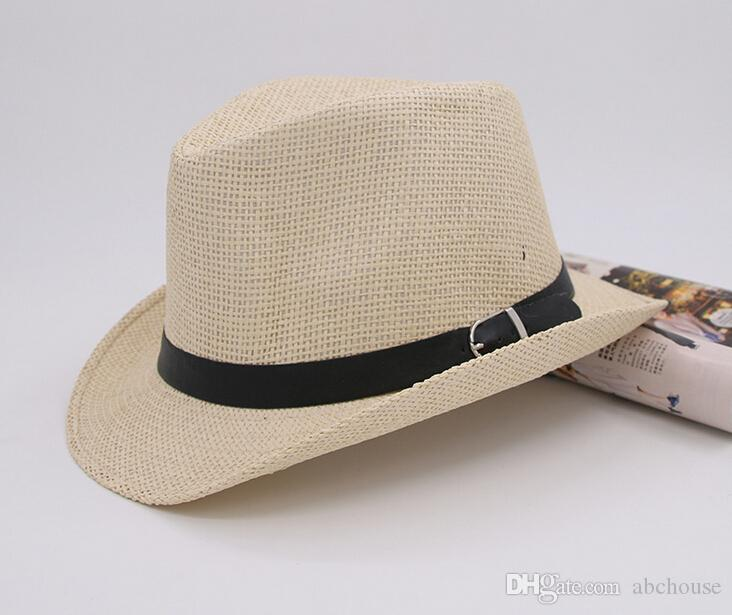 شحن مجاني 6 ألوان الرجال النساء القبعات القش لينة فيدورا بنما القبعات في الهواء الطلق بخيل قبعات بريم