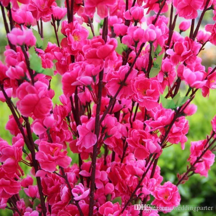 jarrones flores romntico artificial ramas de melocotn flor de cerezo flores de seda casa decoracin