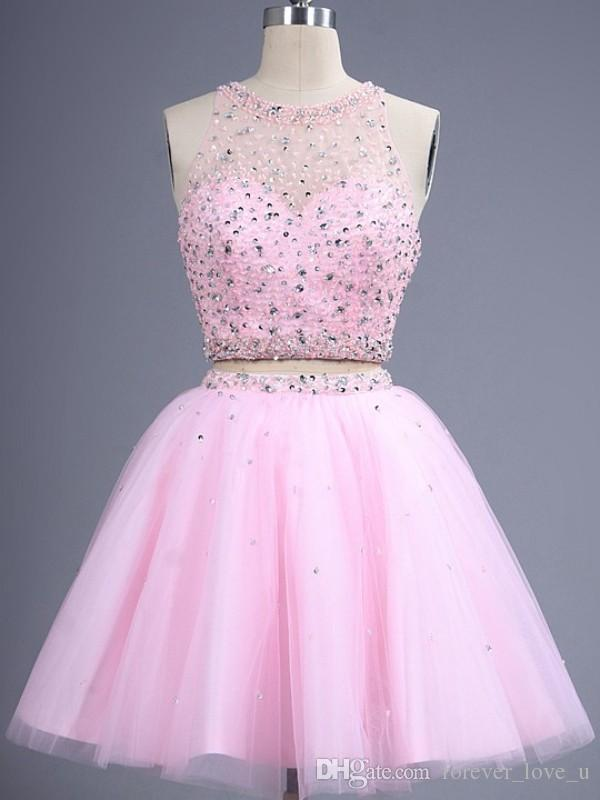 Charming Blush Homecoming Dresses Two Pieces Pink Tulle Short Prom Dress Party Gowns Sheer Jewel Neck Halter Beads Crystals and Sequins