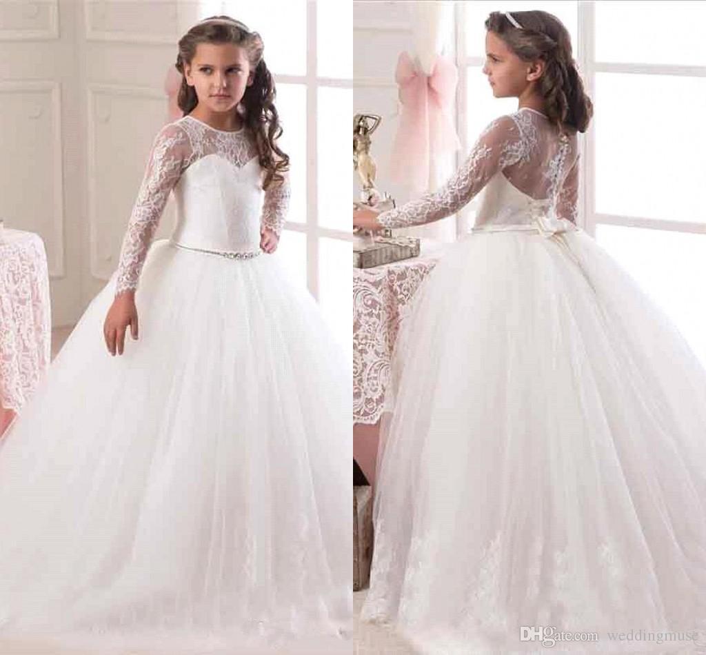 2f87ab5ff970d Acheter Princesse Illusion Manches Longues Fleur Filles Robes ...