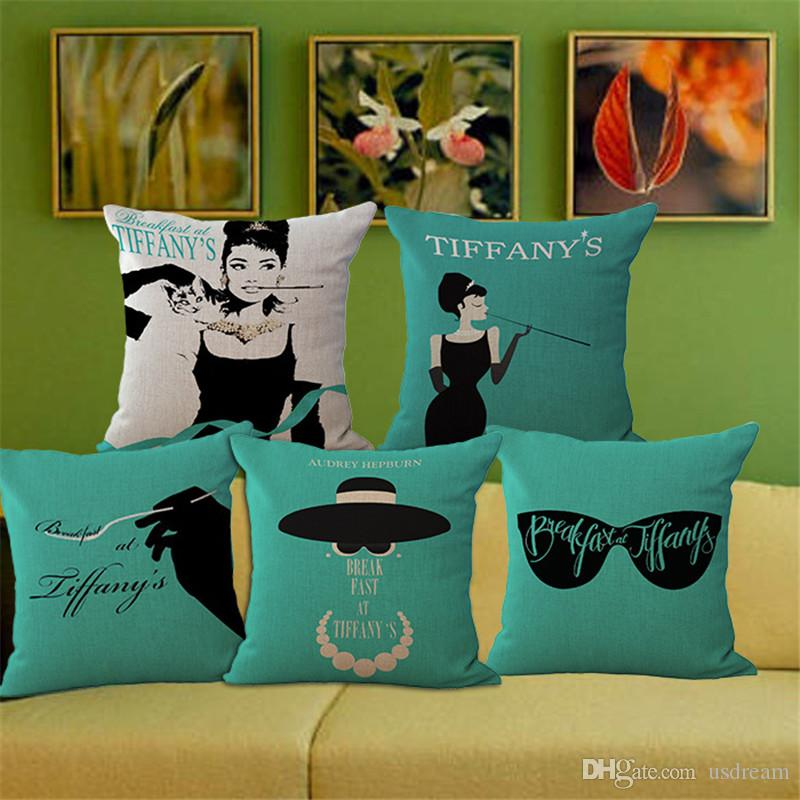 Audrey Hepburn Breakfast At Tiffanyu0027S Pillow Case Cushion Cover Square  Linen Cotton Throw Pillowcase Cover Home Sofa Bedding Decor 240463 Standard  Size ...