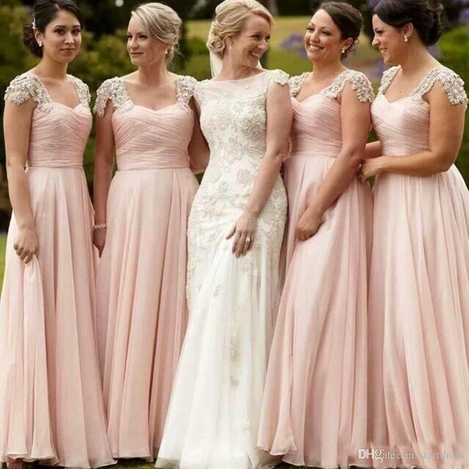 e71acc5c8b Elegant Blush Pink Chiffon Long Bridesmaid Dresses Beads Lace Ruched Maid  Of Honor Party Gowns A Line Sweep Train Wedding Gowns Guest Wedding Dresses  Jr ...