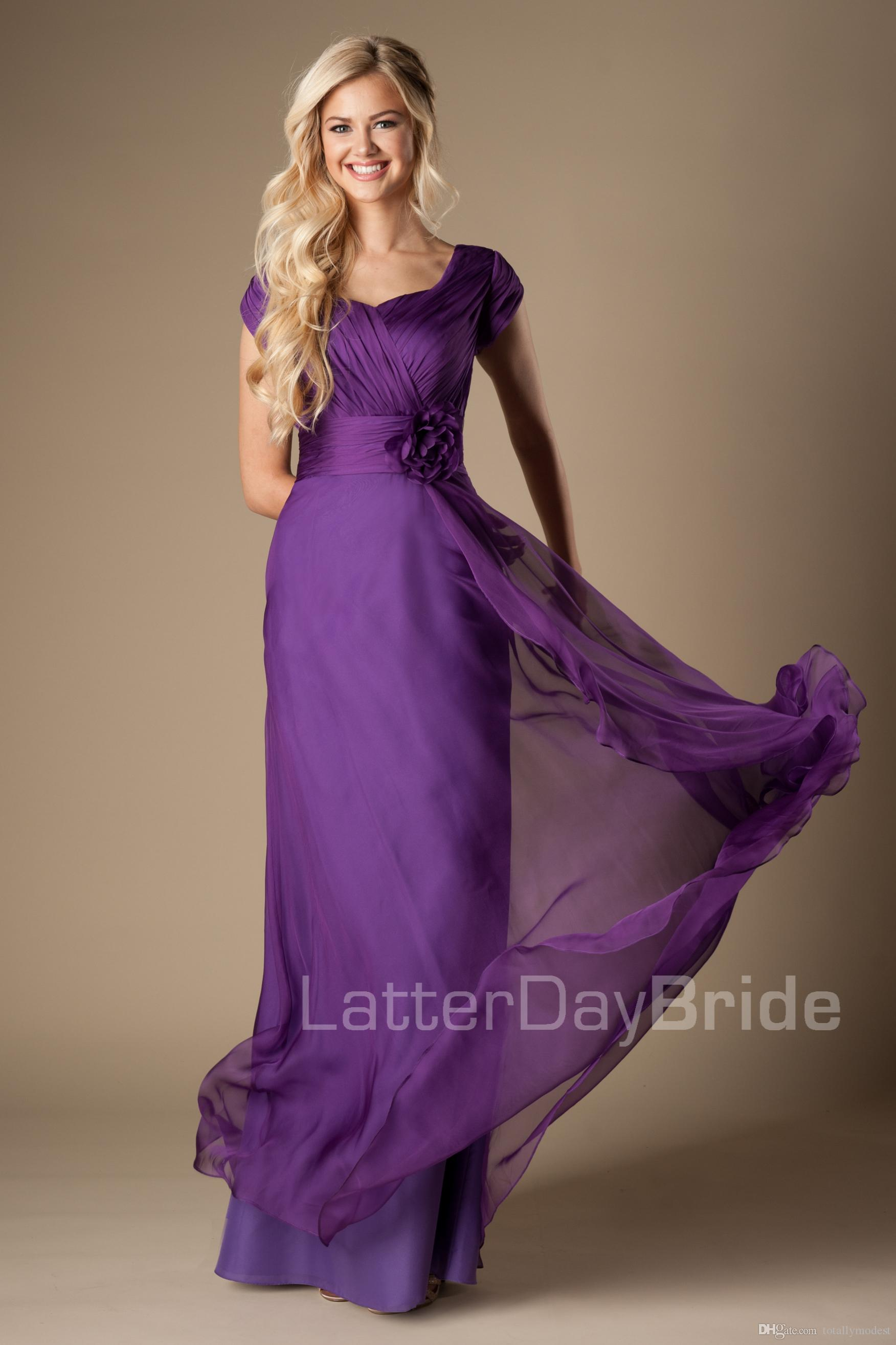 Purple Ruched Chiffon Modest Bridesmaid Dresses Cap Sleeves Long A ...