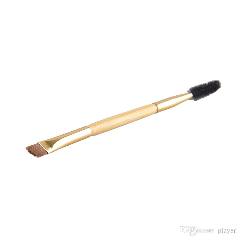 Professional Makeup tools bamboo handle double-end eyebrow brush + eyebrow comb makeup brush for eyebrow new makeup brush free shiping