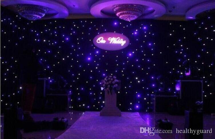 2016 New Fashion Blue White Colors Led Star Curtain Wedding Backdrop