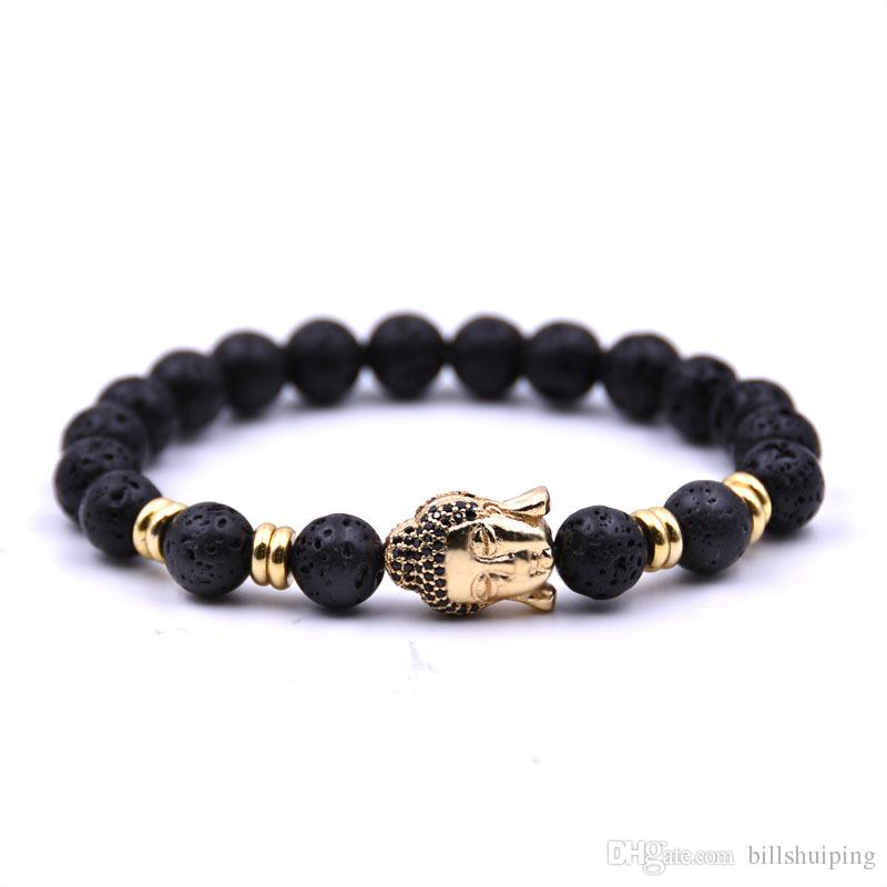 Wholesale New Handmade Diffuser Natural Stone Bracelets Women Jewelry Charms Volcanic Rock Buddha Head Beads for Men