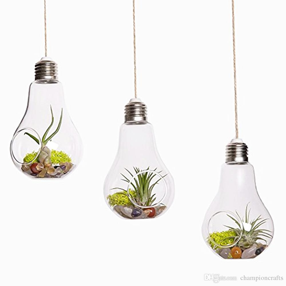Light Bulb Hanging Planter Vase,air Plants Holders for Home Decoration,  Indoor Garden Planters Succulent Garden Terrarium Indoor Planters Glass  Hanging ...