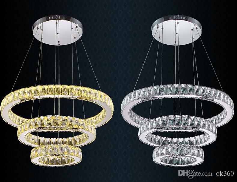 Modern K9 LED pingente de Cristal luzes Anel claro / âmbar círculo Lustres De Cristal Suspensão LED Luminária AC110V-220V