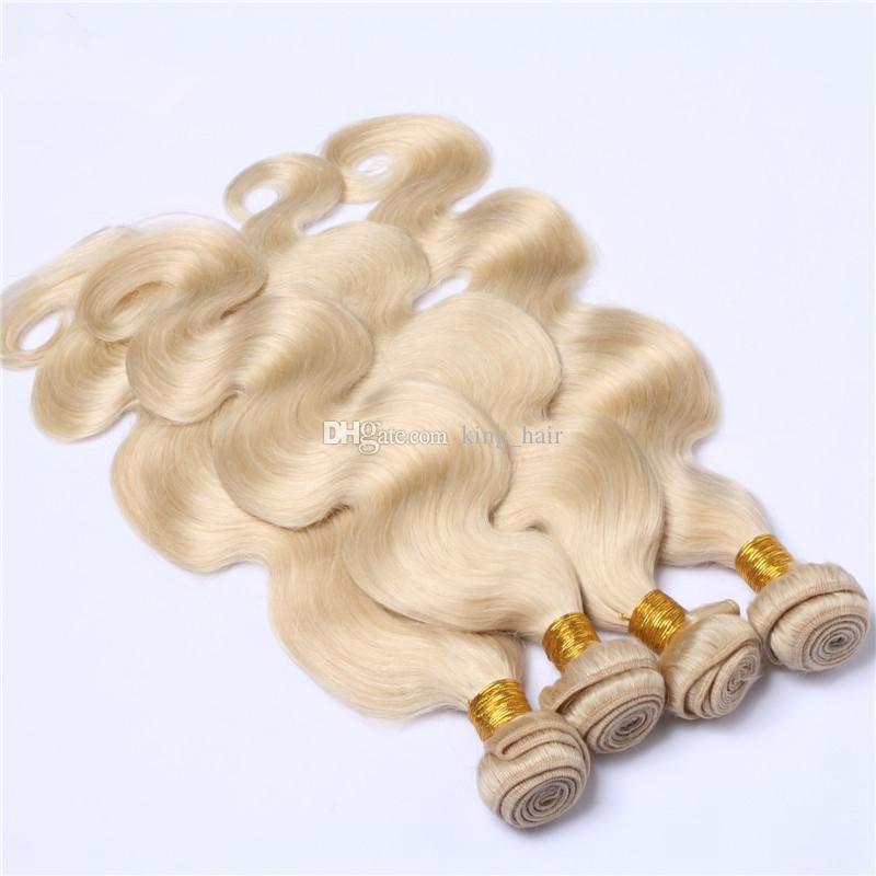 لون نقي # 613 شقراء الشعر البشري 4 حزم 9A درجة الجسم موجة الملمس الشعر ينسج غير المجهزة شقراء 613 الشعر 10-30 بوصة