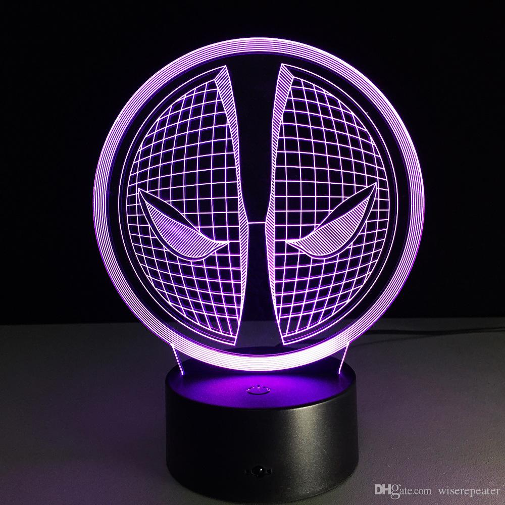 2016 Spiderman Face Style 3D Optical Illusion Lamp Night Light DC 5V USB Charging AA Battery Wholesale Dropshipping