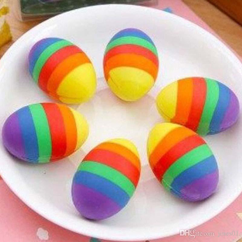 Novelty Colorful Egg Shape Cartoon Rubber Eraser Pencil Erasers Creative Stationery Creative Papelaria