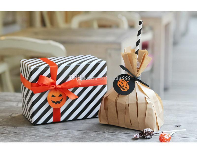 Halloween Gift Tags Smile Pumpkin Paper Tags Halloween Party Favor Labels Hang Tags Gift Wrapping DHL