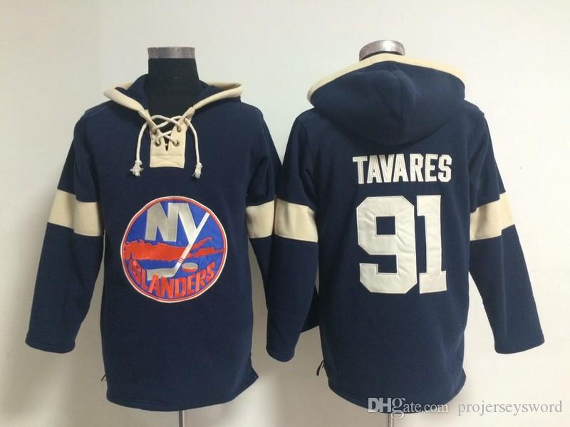 Youth Hockey Jersey Cheap, New York Islanders Hoodie 91 John Tavares Kids 100% Stitched Embroidery Logos Hoodies Sweatshirts Navy blue S-XL