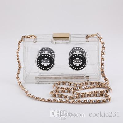 Brand Vintage Tape Record Bag Acrylic Evening Bags Tape Recorder Clutch  Recording Handbags Party Purse Clear Plastic Messenger Cheap Bags Shoulder  Bags For ... a0d9efc9e31a