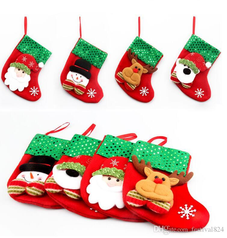 new fashion christmas stocking gift bags small xmas stocking christmas decorative sequins socks bags festival party ornaments supplies best christmas - Small Christmas Stockings