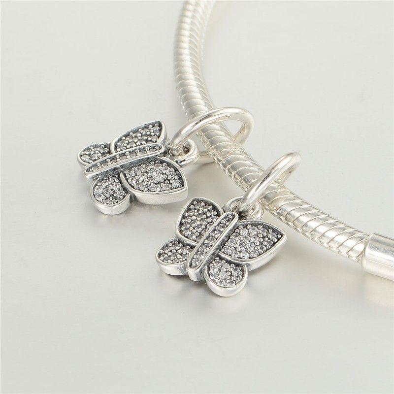 Serve para pandora Encantos Pulseira 925 Sterling Silver Bead Sparking Borboleta Dangle Charme Com Zircão Mulheres DIY Beads Para Jóias