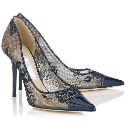 Spring Elegant Black Pointed Toe Lace Flowers Upper Stilletto Heels ... a3e212ac8e60
