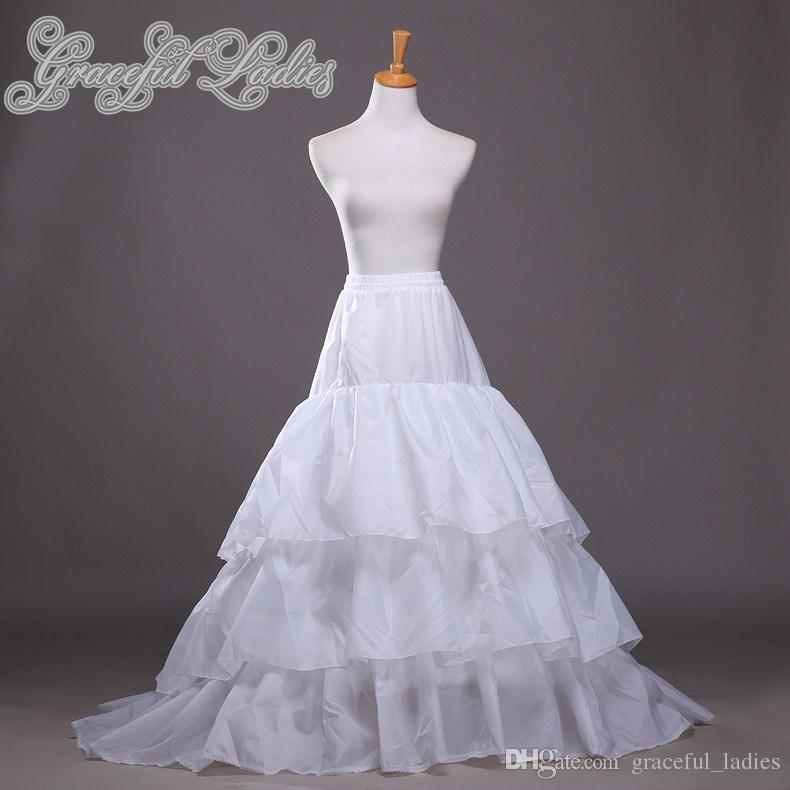 Plus Größe Brautkleid Petticoats Nylon A-line Full Kleid Kapelle Zug 3 Tier Rutsch-Stil / Hochzeitsunterkirt für Brautkleid