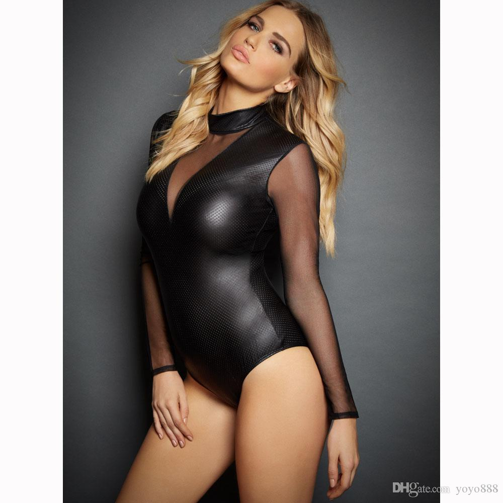 Сексуальный черный кожезаменитель готический комбинезон Комбинезон клубная одежда Костюм комбинезон 6705