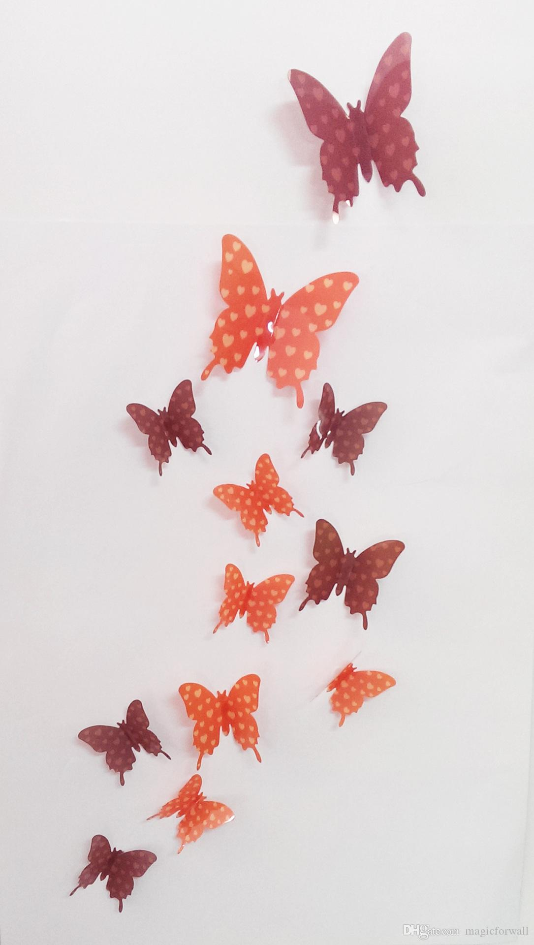 /Pack 3D Colorful Butterfly Wall Decals DIY Home Party Wedding Decoration Wall Stickers Poster Kitchen Refrigerator Wall Mural Applique