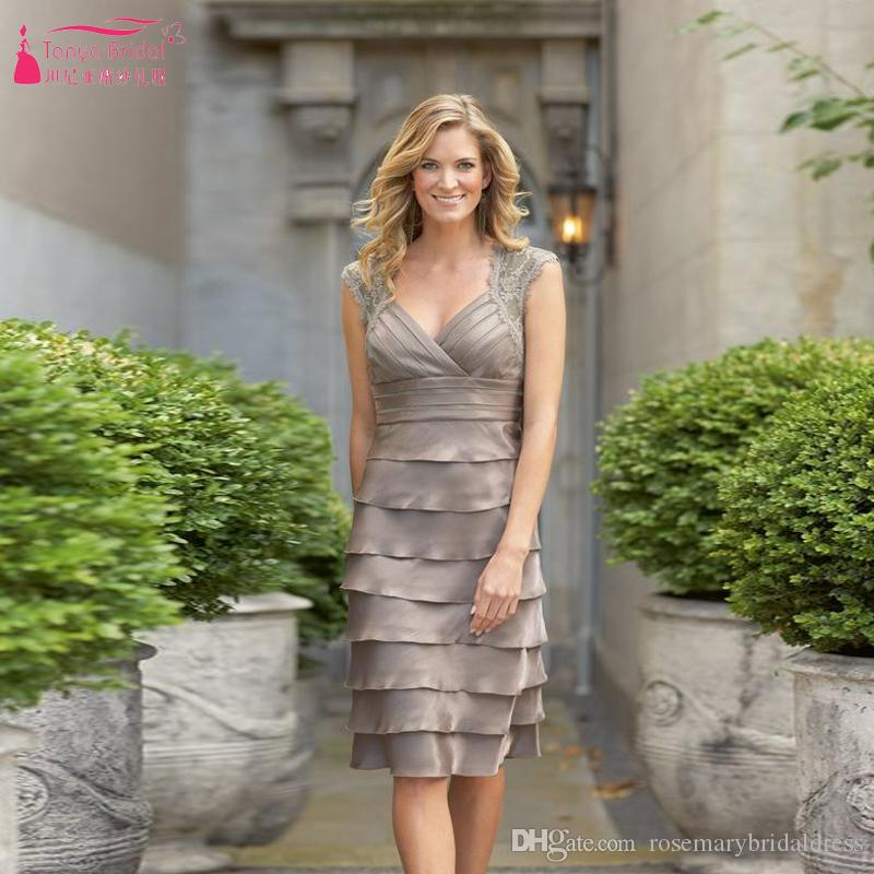 Stunning Mother Of The Bride Dresses: Grown Stunning Ruffles Mother Of Brides Dresses Knee