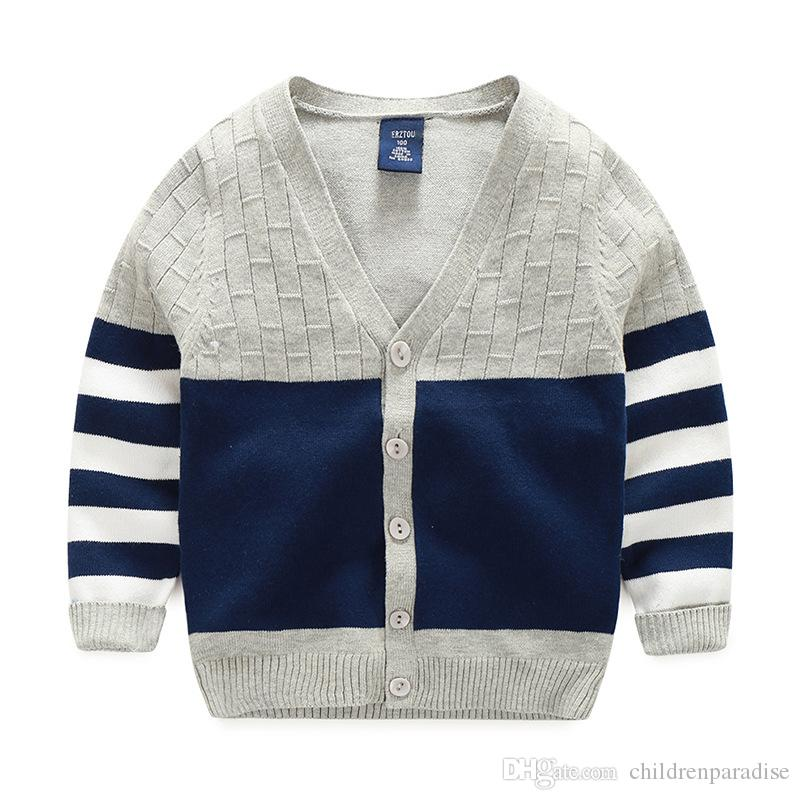 New Boy Sweaters Striped Cotton Top Warm Sweater For Boys Knitting ...