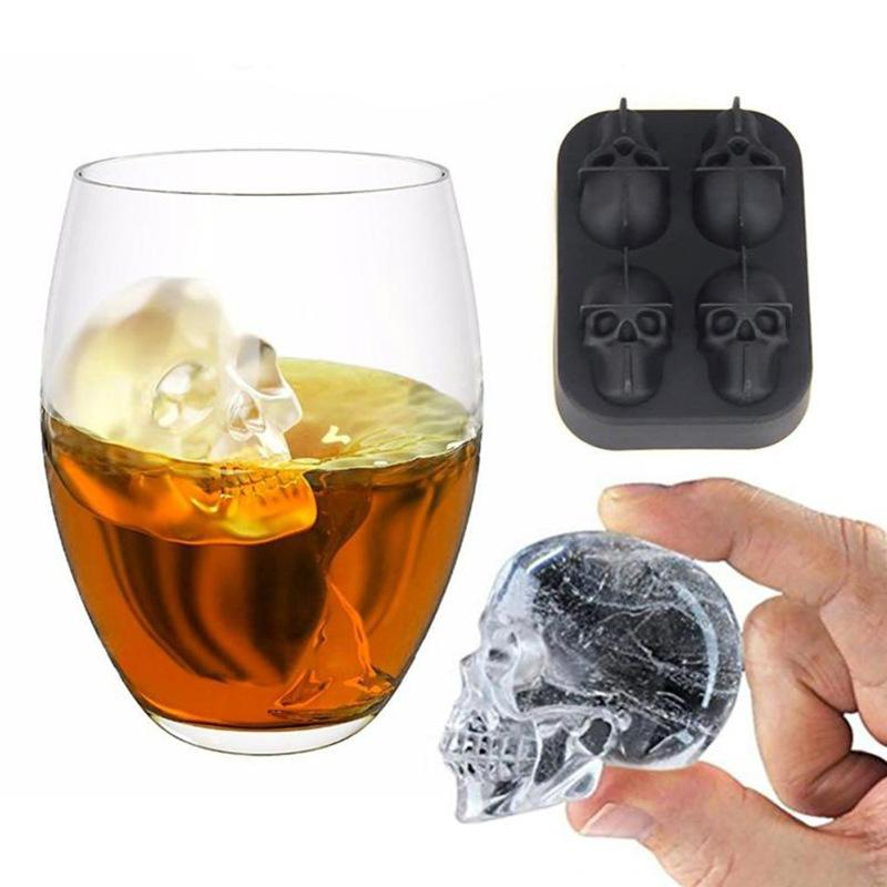 3d Skull Flexible Silicone Ice Cube Mold Tray Makes Four Giant Skulls Round Maker For Xmas Party Bar Black Shape