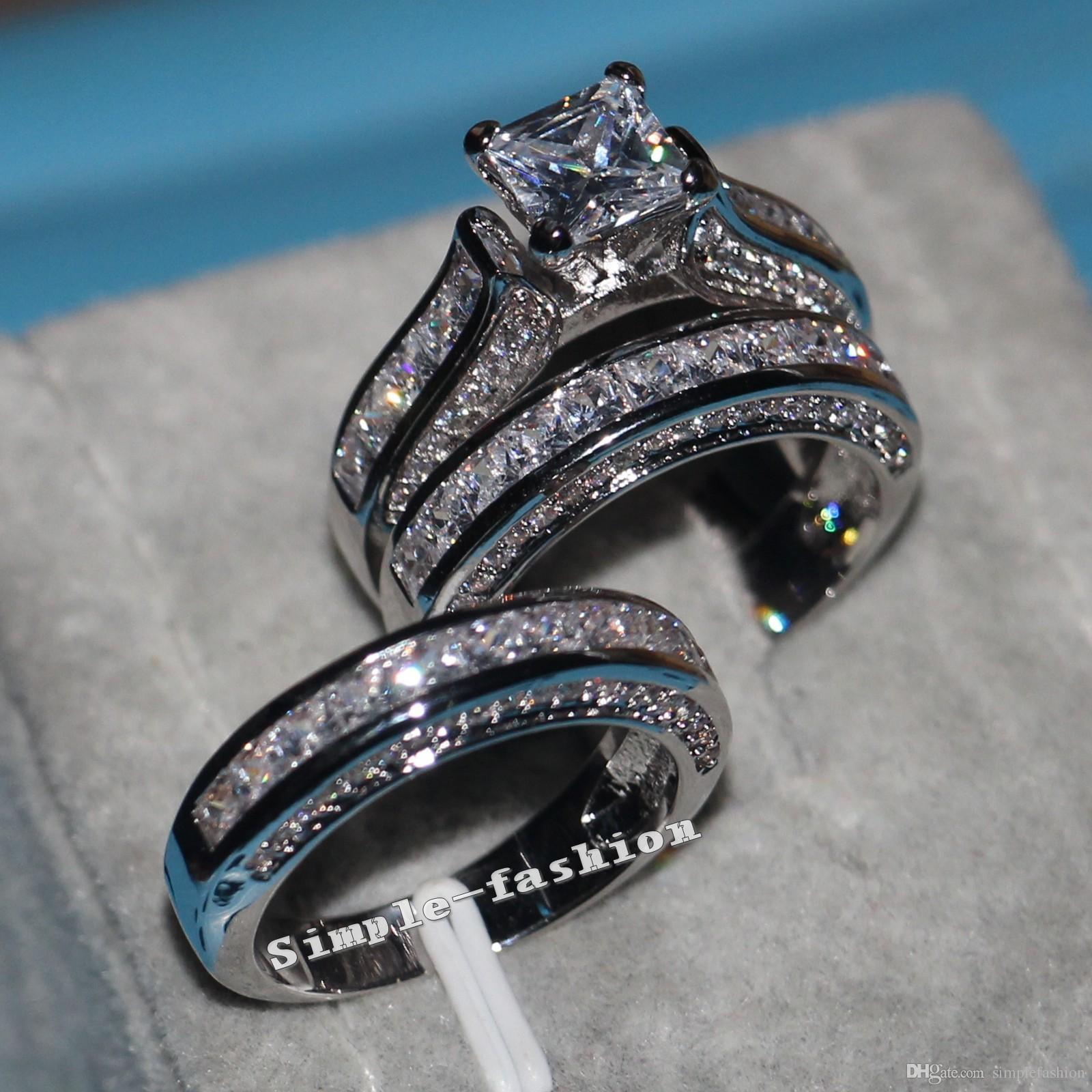 Vecalon Güzel Takı Prenses kesim 20ct Cz elmas Kadınlar için Nişan Düğün Band Yüzük Seti 14KT Beyaz Altın Dolgulu Parmak yüzük