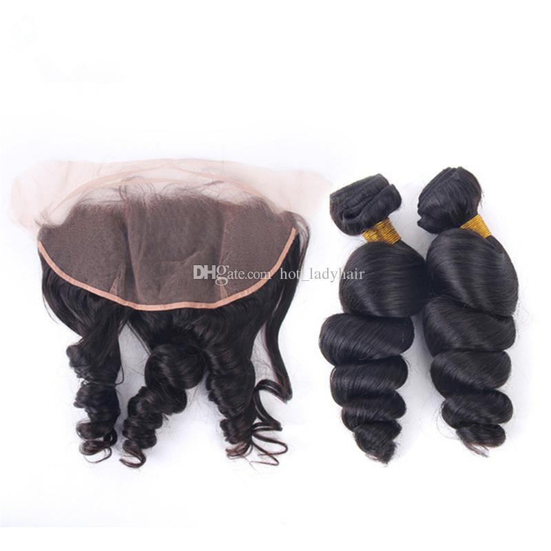 Capelli ondulati sciolti peruviani non trasformati con pizzo frontale 13X4 Orecchie all'orecchio estensioni capelli naturali di colore con chiusura frontale di pizzo