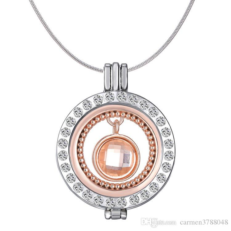 Mi Moneda Locket Necklaces My Coin Holder Locket Crystal Floating Charms 33mm pendant 60mm Chain 12 Designs