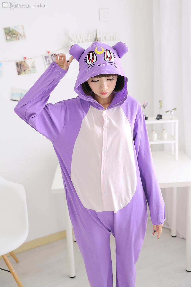 Wholesale Kawaii Anime Purple Cat Long Sleeve Cotton Pajama Onesie