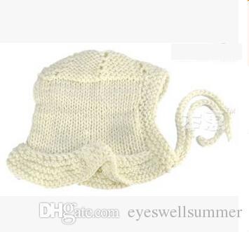newborn handmade crochet flowers hats baby wool hat kids winter caps fashion girls knit hair accessories toddler bonnet photography hats