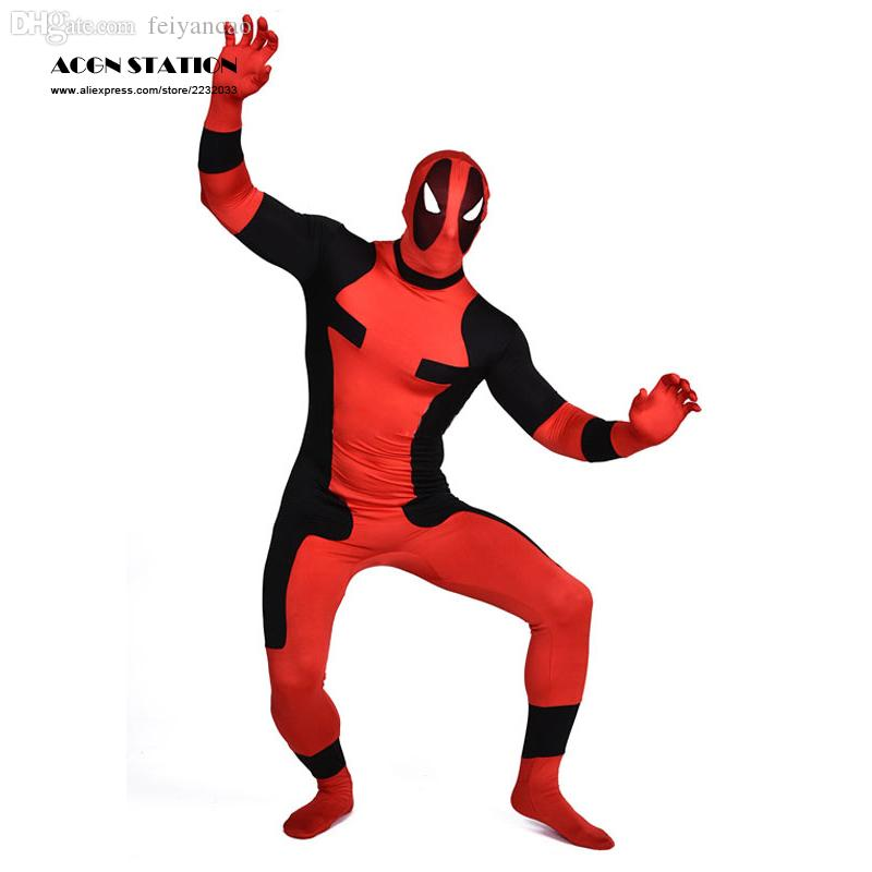 Wholesale-Deadpool Zentai Suit Lycra Marvel Spandex Super Man Full Bodysuit Costume Cosplay for Christmas, Halloween