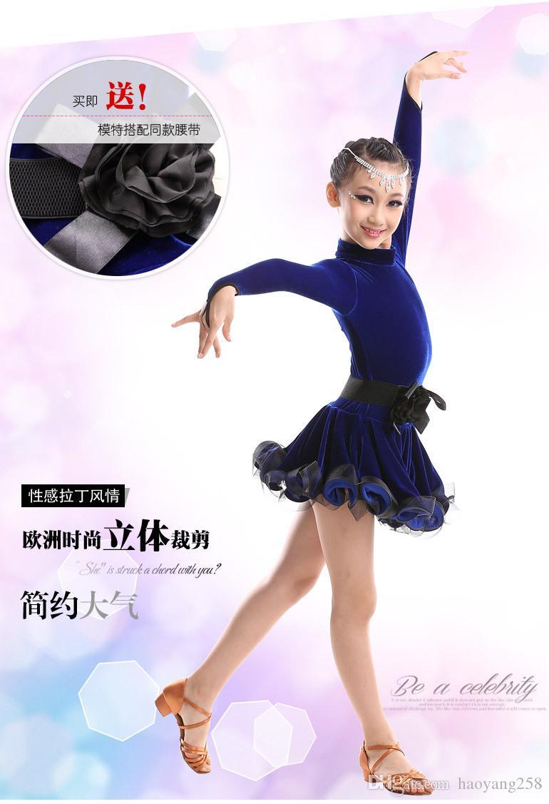 2016 latino Dress For Girls Lace dance Vestido Dresses dance costume baile fringe dance dress kid latin dance dress