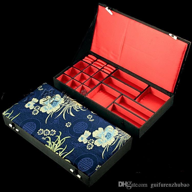 Boutique de madera decorativa conjunto de joyas caja de regalo para collar pulsera anillo pendiente caja de almacenamiento de seda chino brocado cajas de embalaje