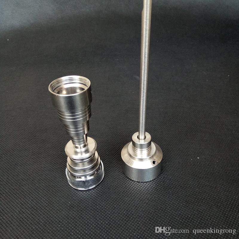티타늄 네일 / 석영 네일 10 / 14 / 18mm 6 in 1 티타늄 카브 캡 금속 파이프 석유 굴착 용 석영 접시 그릇 유리 워터 봉