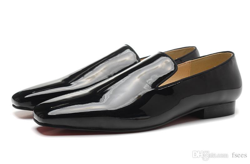 Hot New Brand Sheepskin Men's Shoes Men Black coat paint Leather Flats Men's Business shoes