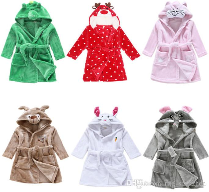 4d42fc283 8styles Children Cartoon Animal Hoodie Coral Fleece Bathrobe Unisex ...